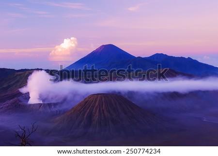 The Bromo volcano is hot valcano in sunrise time - stock photo