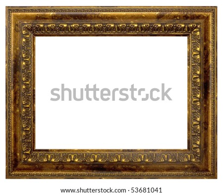 The bronze frame for painting and photography. Isolated on a white background. - stock photo