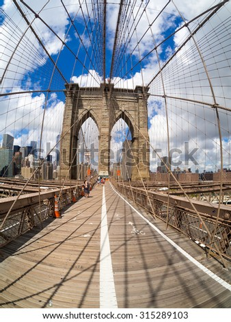 The Brooklyn Bridge in New York on a beautiful summer day