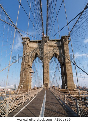 The Brooklyn Bridge is one of the oldest suspension bridges in the United States. - stock photo