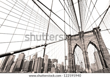 The Brooklyn bridge, New York City. USA. - stock photo