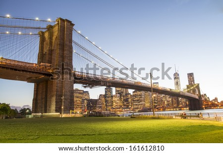 The Brooklyn Bridge Park in New York City - stock photo