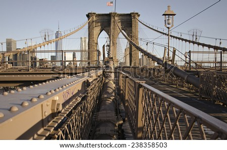 The Brooklyn Bridge with manhattan in the back ground.