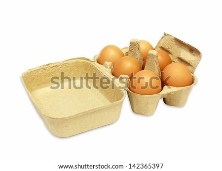 the brown eggs in egg box