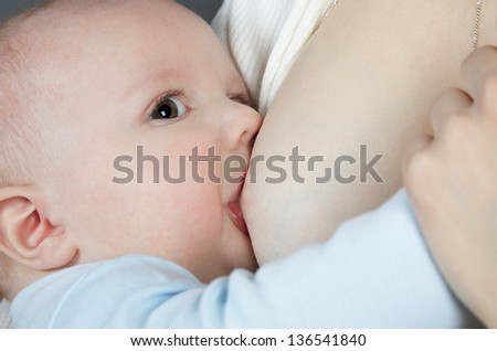 The brown-eyed newborn in a blue jacket sucks a breast - stock photo