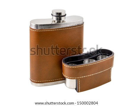 The brown flask is photographed on the white background - stock photo