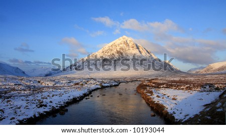 The Buachoille Etive mountain high up in Glencoe Scotland - stock photo