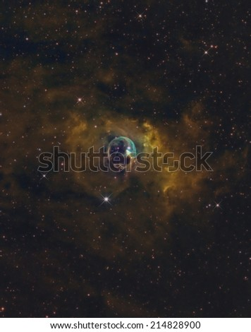 The Bubble Nebula in Narrow Band Color - stock photo
