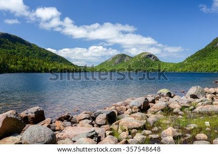 The Bubbles and Jordan Pond in Acadia National Park, Maine, USA - stock photo