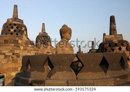 The Buddah in Borobudur Temple.  - stock photo