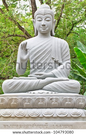 the buddha image in garden wood - stock photo