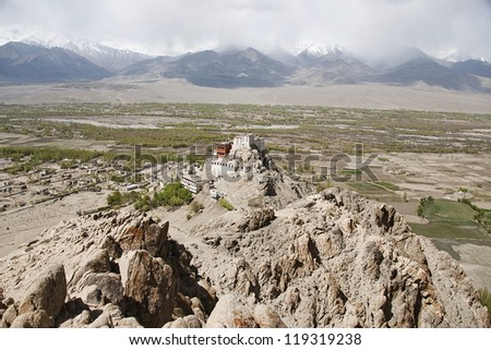 The Buddhist monastery in Tiksey, Ladakh. - stock photo