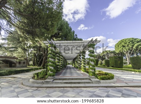 The Buen Retiro Park is a large and popular park at the edge of the Madrid city center - stock photo
