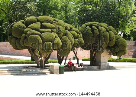 The Buen Retiro Park (Parque del Buen Retiro) in Madrid, Spain - stock photo
