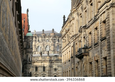 The building in the historic centerof Dresden (landmarks), Germany