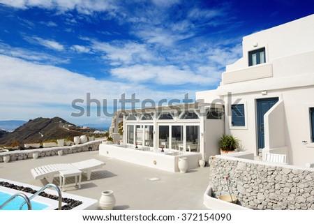 The building of luxury hotel, Santorini island, Greece - stock photo