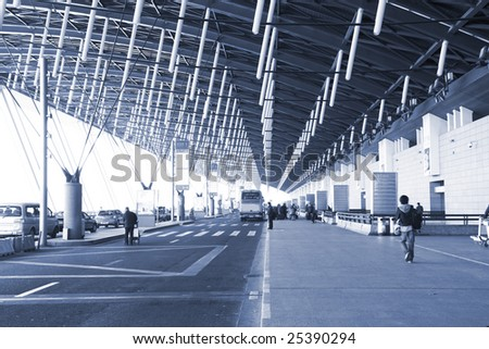 the building of the airport in shanghai. - stock photo