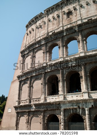 The building of the Colosseum where the gladiators fought. Rome, Italy
