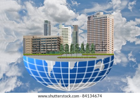 The building on the world with sky. - stock photo
