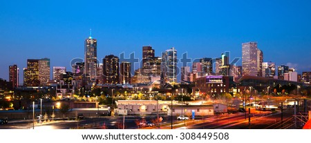 The buildings and architecture of Denver Colorado at dusk - stock photo
