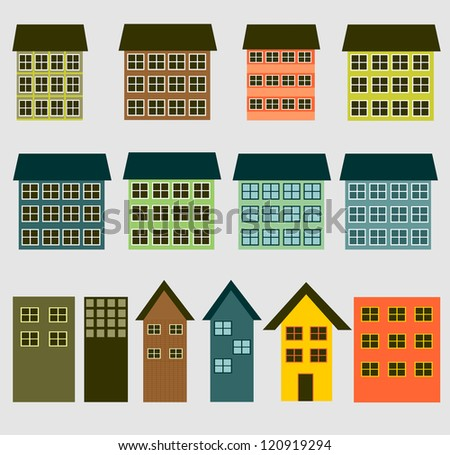 the buildings and houses - stock photo