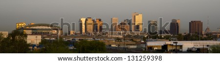 The Buildings and Landscape of Phoenix Arizona Downtown City Skyline Before The Sun Rises - stock photo