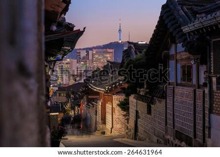 The Bukchon Hanok historic district in Seoul, South Korea. - stock photo