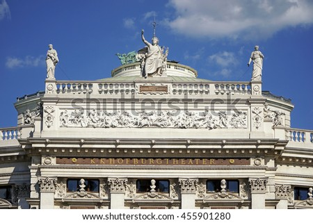 The Burgtheater - Austrian National Theatre in Vienna. One of the most important German language theatres in the world. - stock photo