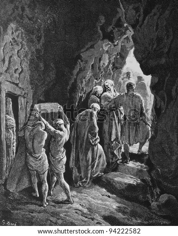 The Burial of Sarah. 1) Le Sainte Bible: Traduction nouvelle selon la Vulgate par Mm. J.-J. Bourasse et P. Janvier. Tours: Alfred Mame et Fils. 2) 1866 3) France 4) Gustave Doré - stock photo