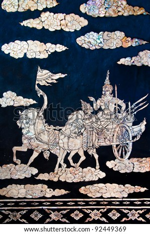 The Buried pearl of thai art on wood. This is traditional and generic style in Thailand. No any trademark or restrict matter in this photo. - stock photo