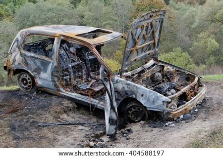 The burned no name car in the autumn wood
