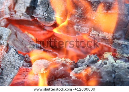 The burning fire flame with the smoldering pieces of coal and a smoke. - stock photo