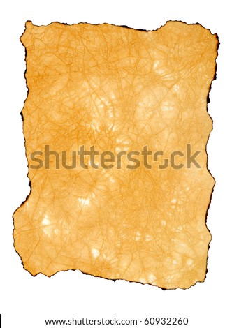 The burnt scroll is isolated on a white background