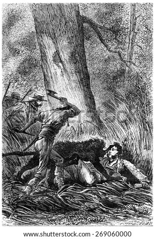 The Bushman ax in hand, vintage engraved illustration. Jules Verne 3 Russian and 3 English, 1872. - stock photo