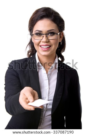 the business card in the business woman's hand - stock photo