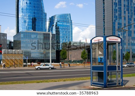 the business district in Vilnius and a street telephone