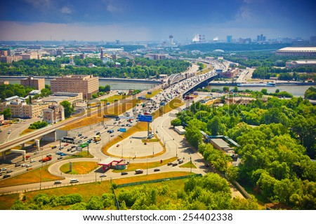 The business part of Moscow - roads, road junctions, cars, modern architecture - stock photo