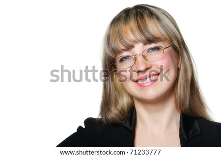 The business woman in eye glasses. It is isolated on a white background