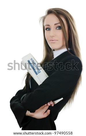 The business woman with the newspaper isolated - stock photo