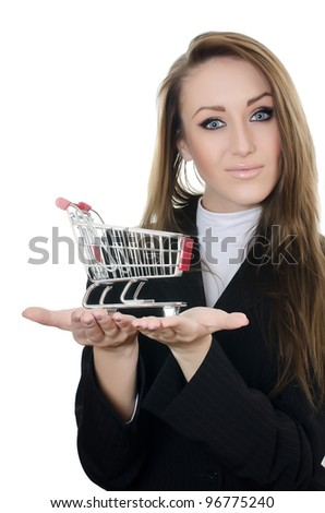 The business woman with the shopping cart