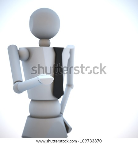 The business wooden doll 3d illustration - stock photo