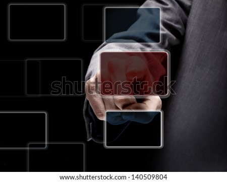 The businessman, a gesture, a finger. - stock photo
