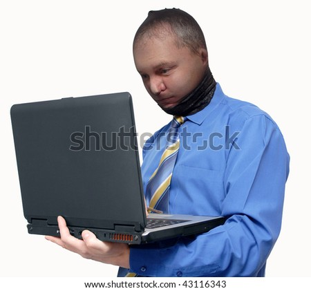 The businessman in a mask tries to steal the data from the laptop
