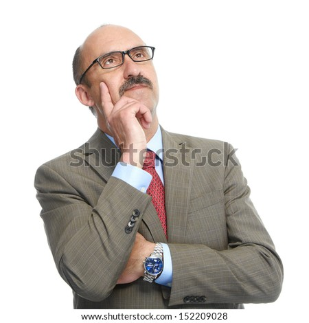The businessman in spectacles on a white background - stock photo