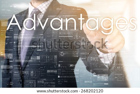 the businessman is choosing Advantage from touch screen - stock photo