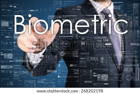 the businessman is choosing Biometric from touch screen - stock photo