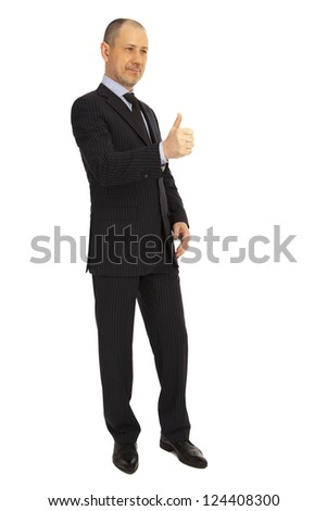 The businessman is happy with the concluded bargain. - stock photo