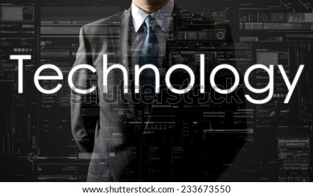 the businessman is looking straight ahead thinking about: Technology - stock photo