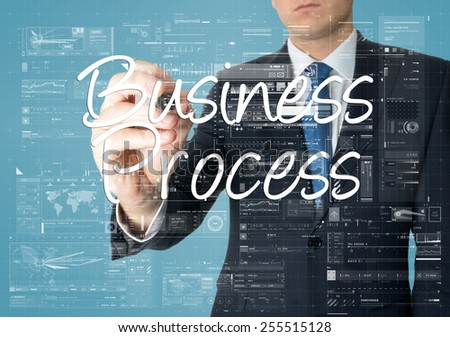 the businessman is writing Business Process on the transparent board with some diagrams and info charts - stock photo