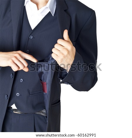 The businessman looks in an empty pocket of a jacket